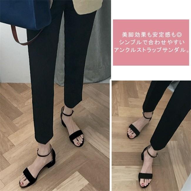 サンダル レディース ストラップサンダル オープントゥ 太ヒール シンプル 美脚 おしゃれ 歩きやすい スエード調 可愛い 5cm 7cm 全2色 大きいサイズ|ngytomato|16