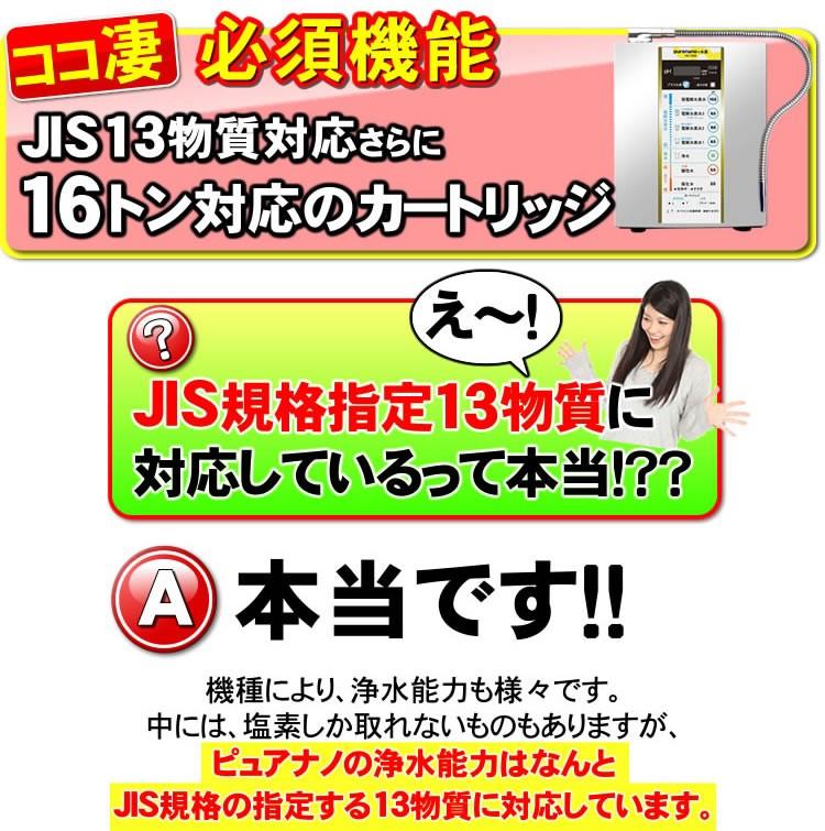 JIS規格13物質に対応した高性能浄水カートリッジ