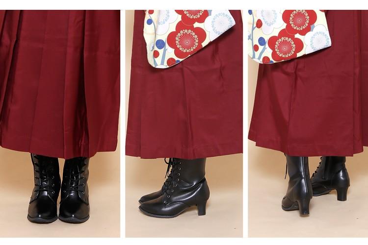 袴用ブーツ 単品 黒 選べる22.5〜26cm レトロ編み上げブーツ 06-14-14-001の着用イメージです。