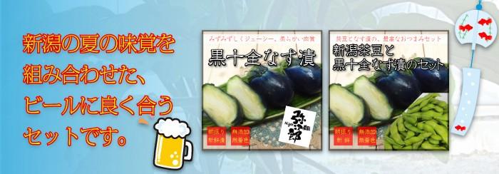 新潟の夏の味覚を組み合わせた、ビールに良く合うセットです。