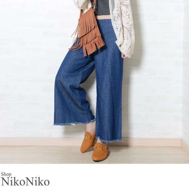 Shop NikoNiko - デニム ガウチョパンツ ma 即納 ボトム パンツ デニム ガウチョ ガウチョパンツ フリンジ  レディース|Yahoo!ショッピング