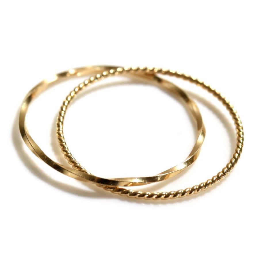 リング イエローゴールド 18k クロスリング 2本セット ピンキーリング ファランジリング 指輪 ゴールド シルバー かわいい おしゃれ 大人可愛い シンプル 可愛い|ninon|15