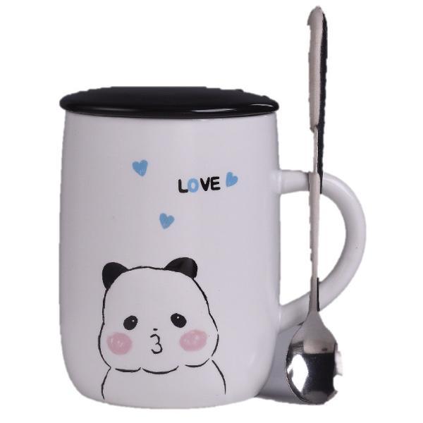 ふた付きマグカップ(パンダ 熊猫 600ml) 蓋付き マドラー付き 陶器製 可愛い お洒落 大容量 コーヒー 紅茶 ジュース牛乳 カフェオレ|nishida-store|06