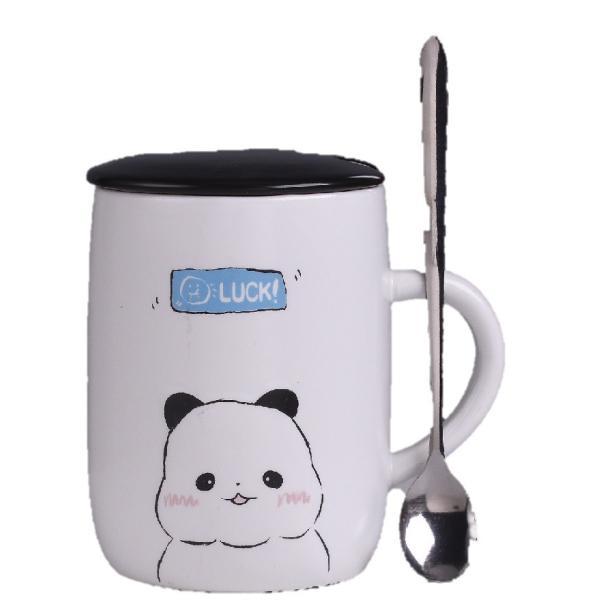 ふた付きマグカップ(パンダ 熊猫 600ml) 蓋付き マドラー付き 陶器製 可愛い お洒落 大容量 コーヒー 紅茶 ジュース牛乳 カフェオレ|nishida-store|07