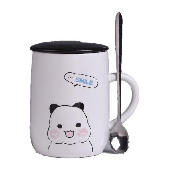 ふた付きマグカップ(パンダ 熊猫 600ml) 蓋付き マドラー付き 陶器製 可愛い お洒落 大容量 コーヒー 紅茶 ジュース牛乳 カフェオレ|nishida-store|08
