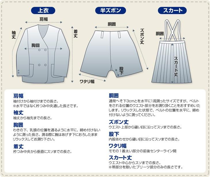 学生服のサイズ表記名称