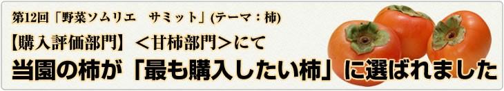第12回「野菜ソムリエ サミット」(テーマ:柿)【購入評価部門】甘柿部門にて当園の柿が「最も購入したい柿」に選ばれました