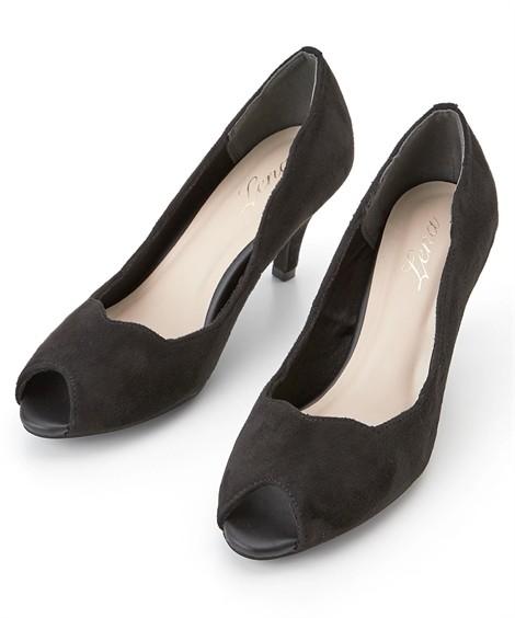 靴(シューズ)|フラワーカットオープントゥパンプス ニッセン nissen(黒)