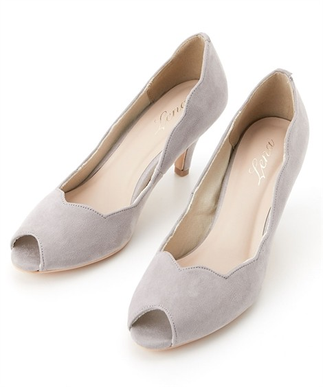 靴(シューズ)|フラワーカットオープントゥパンプス ニッセン nissen(グレー)