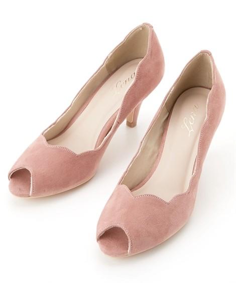 靴(シューズ)|フラワーカットオープントゥパンプス ニッセン nissen(ピンク)