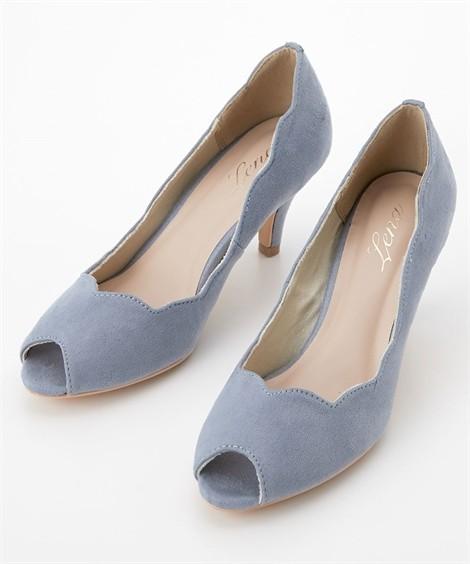 靴(シューズ)|フラワーカットオープントゥパンプス ニッセン nissen(ブルー)