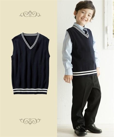制服|綿100%ライン入りスクールベスト(子供服 男の子・女の子 ジュニア服) ニッセン nissen(紺×オフ白ライン)