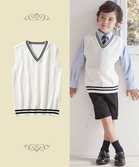 制服|綿100%ライン入りスクールベスト(子供服 男の子・女の子 ジュニア服) ニッセン nissen(オフ白×紺ライン)