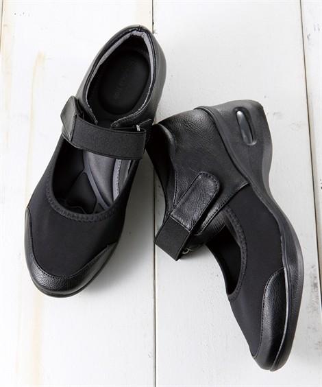 靴(シューズ)|9ツールアシスト 5Eストレッチパンプス コンフォートシューズ 外反母趾 歩きやすい ニッセン nissen(ブラック)