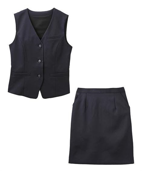 レディーススーツ|お客様の声から改善♪ベストスーツ(温湿度調整裏地付)(丈58cm) ニッセン nissen(B・紺)
