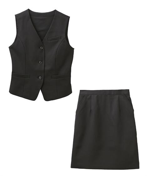 レディーススーツ|お客様の声から改善♪ベストスーツ(温湿度調整裏地付)(丈58cm) ニッセン nissen(A・黒)