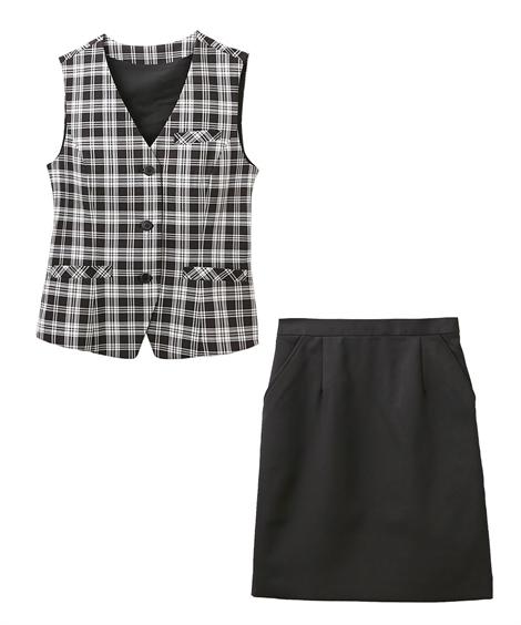 レディーススーツ|お客様の声から改善♪ベストスーツ(温湿度調整裏地付)(丈58cm) ニッセン nissen(C・黒系チェック+黒)