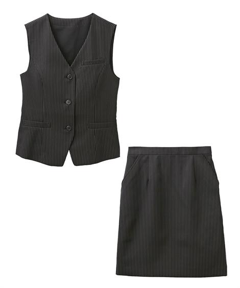 レディーススーツ|お客様の声から改善♪ベストスーツ(温湿度調整裏地付)(丈58cm) ニッセン nissen(F・黒地ストライプ)