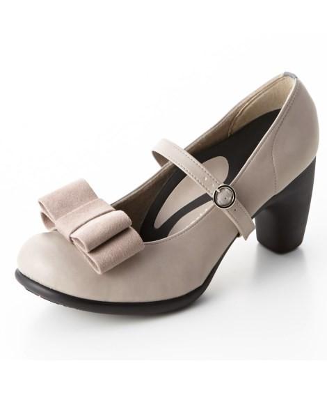 靴(シューズ)|リゲッタスマイル 華奢見え3WAYリボンパンプス(ゆったりワイズ) ニッセン nissen(B・ピンクベージュ)