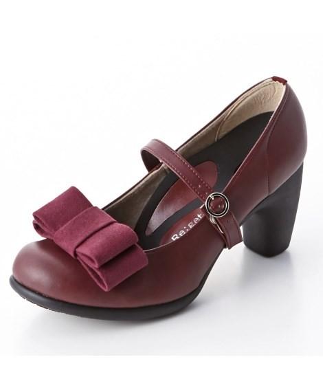 靴(シューズ)|リゲッタスマイル 華奢見え3WAYリボンパンプス(ゆったりワイズ) ニッセン nissen(A・ワイン)