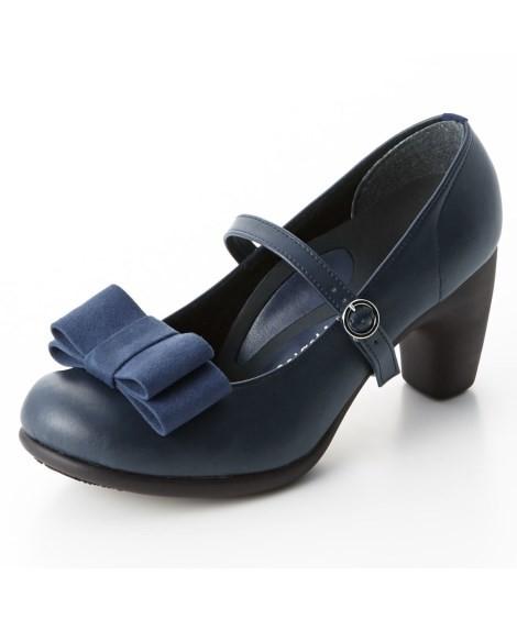 靴(シューズ)|リゲッタスマイル 華奢見え3WAYリボンパンプス(ゆったりワイズ) ニッセン nissen(C・ネイビー)