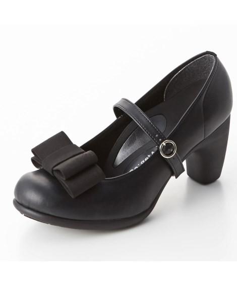 靴(シューズ)|リゲッタスマイル 華奢見え3WAYリボンパンプス(ゆったりワイズ) ニッセン nissen(F・ブラック)
