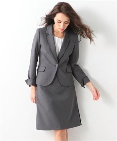 レディーススーツ|洗える◎足さばきのよいサイドタックタイトスカートスーツ ニッセン nissen(B・グレー系)