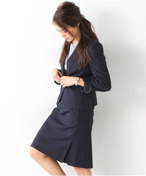 レディーススーツ|洗える◎足さばきのよいサイドタックタイトスカートスーツ ニッセン nissen(C・ネイビー)