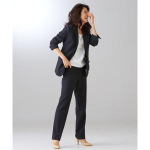 スーツ レディース セット パンツ 大きいサイズ ビジネス 洗える ストレッチ ロング丈 7号 9号 11号 13号 15号 17号 19号 グレーストライプ ニッセン nissen|ニッセン PayPayモール店