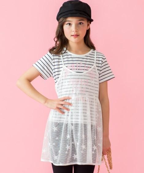 c2c205d96ce8b ワンピース キッズ 2点セット レースキャミワンピ+ Tシャツ 女の子 子供 ...