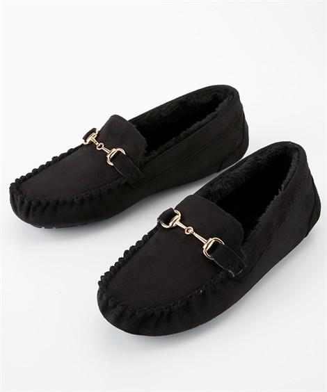 靴(シューズ) 内ボアビットモカシンシューズ ニッセン nissen(黒)