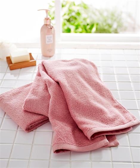 タオル 【まとめ買いがお得】肌ざわりのいいデイリーカラー中厚手スリムバスタオル同色2枚セット(約34×120cm) ニッセン nissen(ピンク)