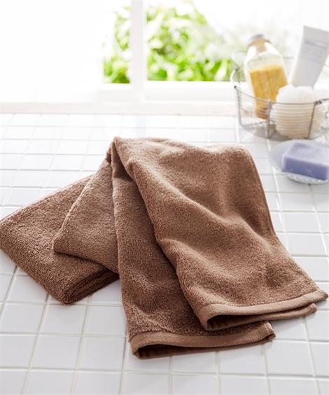 タオル 【まとめ買いがお得】肌ざわりのいいデイリーカラー中厚手スリムバスタオル同色2枚セット(約34×120cm) ニッセン nissen(ブラウン)