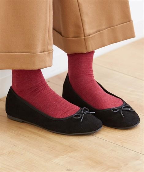 靴(シューズ)|ラウンドトゥバレエシューズ ニッセン nissen(黒)