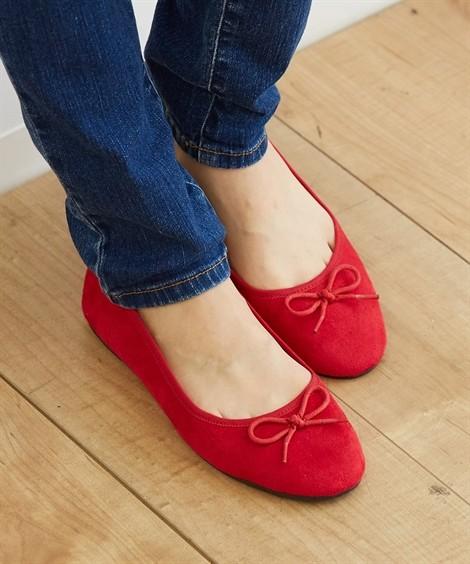 靴(シューズ)|ラウンドトゥバレエシューズ ニッセン nissen(赤)