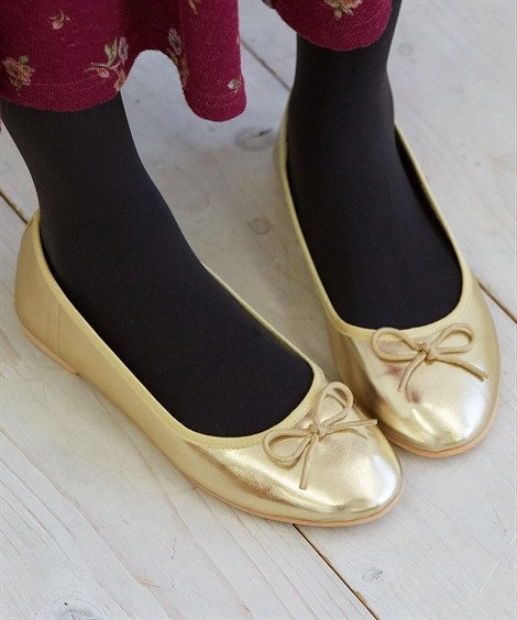 靴(シューズ)|ラウンドトゥバレエシューズ ニッセン nissen(シャンパンゴールド(スムース))