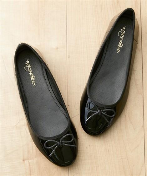 靴(シューズ)|ラウンドトゥバレエシューズ ニッセン nissen(黒(エナメル))