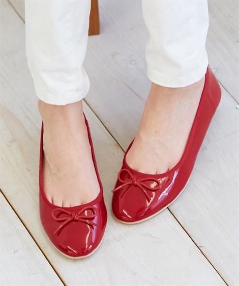 靴(シューズ)|ラウンドトゥバレエシューズ ニッセン nissen(赤(エナメル))
