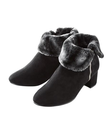 靴(シューズ) サイドファスナー折返しフェイクファーショートブーツ(低反発中敷)(ワイズ4E) ニッセン nissen(黒)