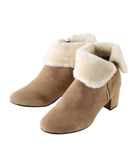 靴(シューズ) サイドファスナー折返しフェイクファーショートブーツ(低反発中敷)(ワイズ4E) ニッセン nissen(ベージュ)