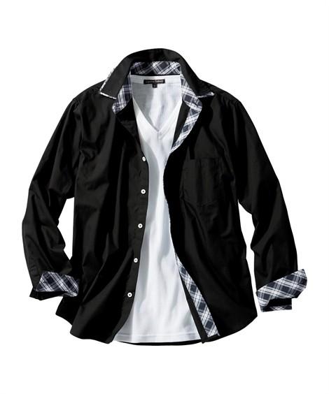トップス・ワイシャツ|6L-10L 2点セット(2重衿配色切替長袖シャツ+Tシャツ) ニッセン nissen(黒系+白)