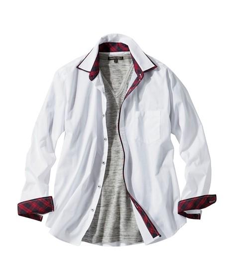 トップス・ワイシャツ|6L-10L 2点セット(2重衿配色切替長袖シャツ+Tシャツ) ニッセン nissen(白系+杢グレー)