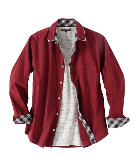 トップス・ワイシャツ|6L-10L 2点セット(2重衿配色切替長袖シャツ+Tシャツ) ニッセン nissen(エンジ系+杢グレー)