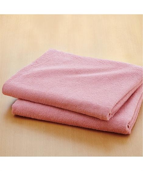 タオル 乾きやすいデイリーカラー超薄手大判バスタオル同色2枚組 ニッセン nissen(A・ピンク)