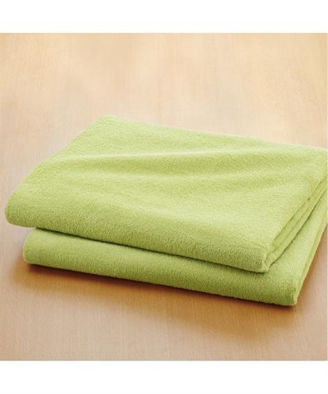 タオル 乾きやすいデイリーカラー超薄手大判バスタオル同色2枚組 ニッセン nissen(C・グリーン)
