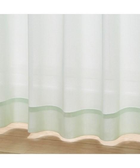 カーテン|全サイズ均一価格・昼間見えにくいレースカーテン ニッセン nissen(C・グリーン)