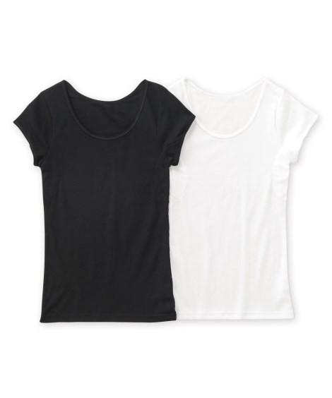 肌着・インナー|吸汗速乾 綿混汗取り付フレンチ袖インナー2枚組 ニッセン nissen(A・オフホワイト+黒)