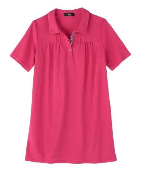 トップス・チュニック|大きいサイズ レディース ニッセン nissen L LL 2L 3L 4L 5L 6L 8L 10L UVカット半袖ポロシャツチュニック(ピンク)