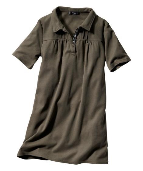トップス・チュニック|大きいサイズ レディース ニッセン nissen L LL 2L 3L 4L 5L 6L 8L 10L UVカット半袖ポロシャツチュニック(カーキ)