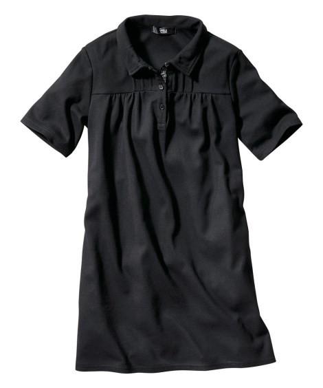 トップス・チュニック|大きいサイズ レディース ニッセン nissen L LL 2L 3L 4L 5L 6L 8L 10L UVカット半袖ポロシャツチュニック(黒)